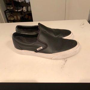 Vans Slip Ons - Women's 9 - Black Perf Leather